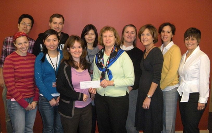 The Manhasset Women's Coalition Against Breast Cancer donates $50,000 to Cold Spring Harbor Laboratory
