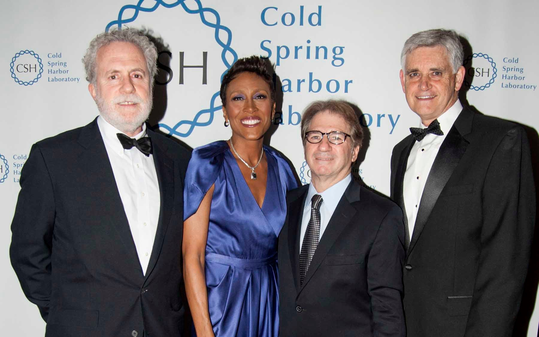 At the gala: Double Helix Medal honorees Peter Neufeld, Robin Roberts and Barry Scheck joined by CSHL President and CEO Bruce Stillman
