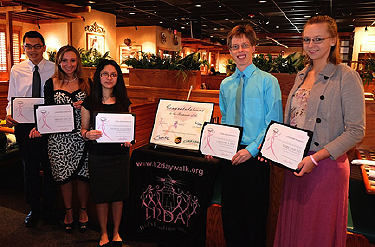 2014 LI2DAY scholarship recipients l-R: Julio Ramirez, Arielle Gelosi, Evelyn Sanchez, Gregory Caso, and Mary Liebold