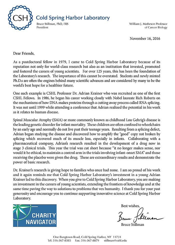 CSHL Annual Appeal Letter audits 111116