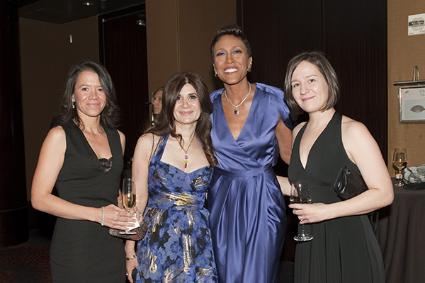 Robin Roberts with CSHL Scientists, Camila dos Santos, Leemor Joshua-Tor, and Molly Hammell