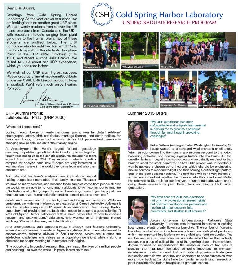 CSHL URP news 2015