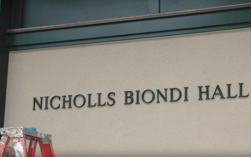 Time lapse movie of the construction of the new Nicholls-Biondi Hall