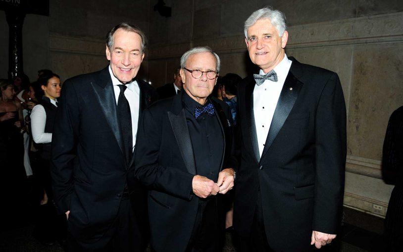 Charlie Rose, Tom Brokaw, and Dr. Bruce Stillman.