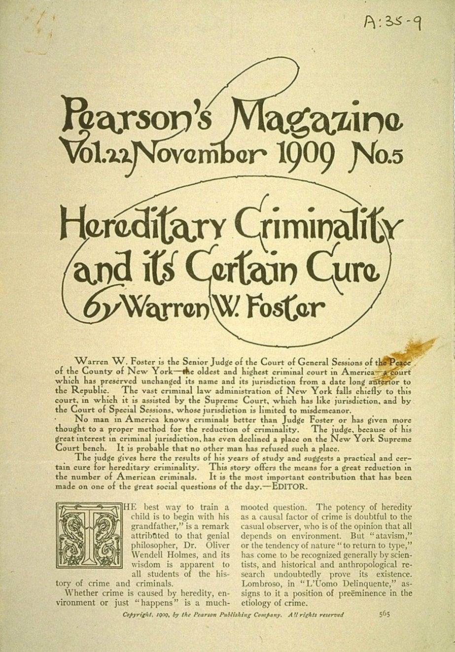 Hereditary criminality 1909