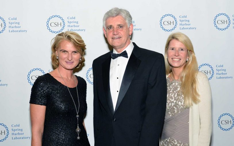 Olivia Flatto, CSHL President & CEO Bruce Stillman, CSHL Board of Trustees Chairman Jamie Nicholls