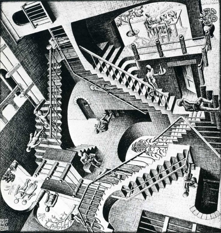 M.C. Escher House of Stairs I. 1951. Lithograph