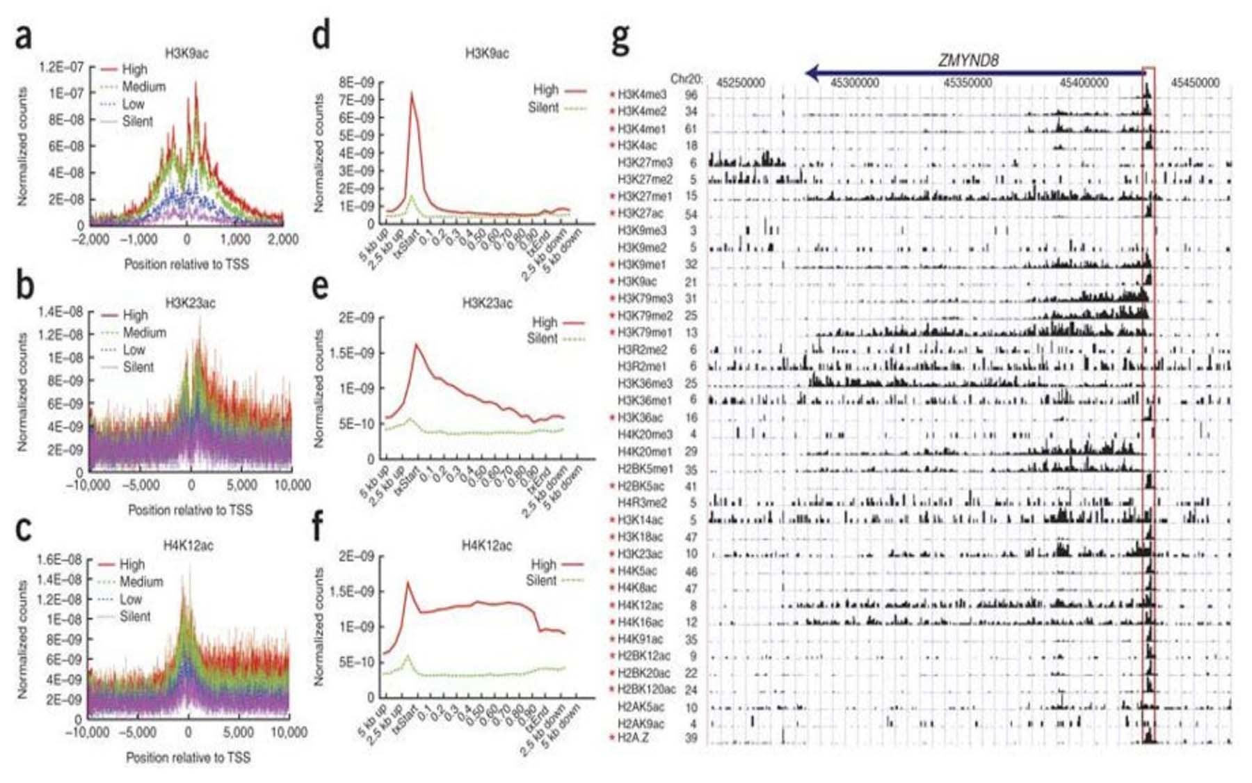 acetylations methylations human genome