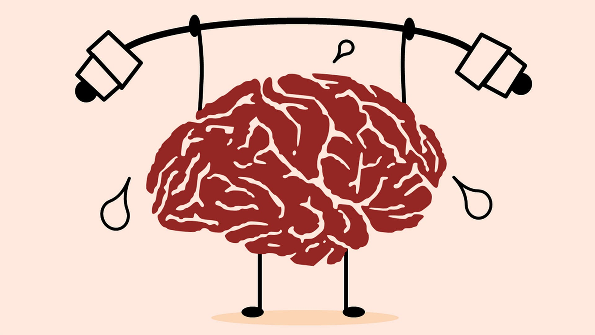 illustration of brain lifting weights mental health