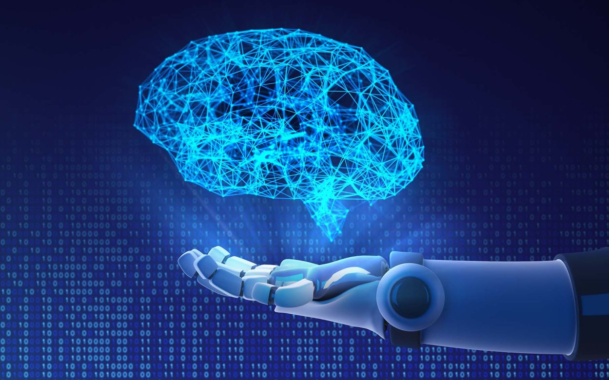 Robot hand holding virtual brain. Artificial intelligence in futuristic technology concept, 3d illustration