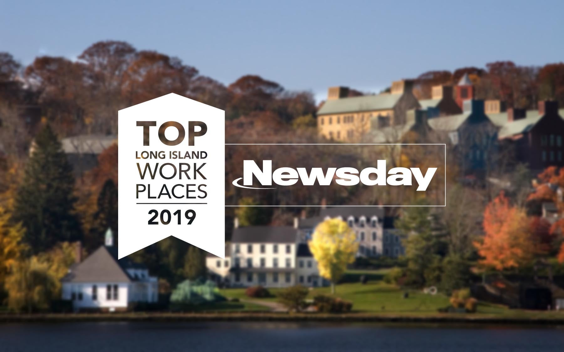 photo of CSHL campus with Newsday top workplace 2019 logo