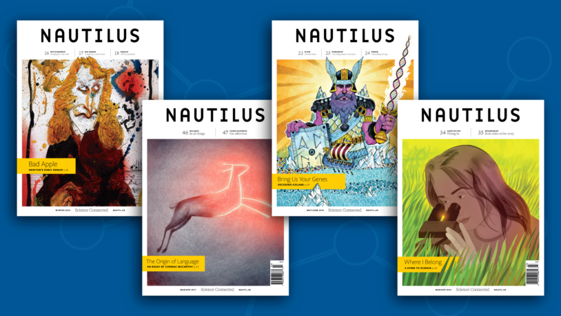 image of four Nautilus magazine covers on a blue background