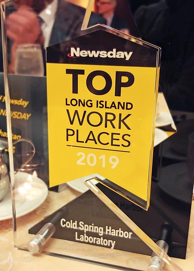 photo of CSHL's Newsday Long Island Top Workplace award 2019