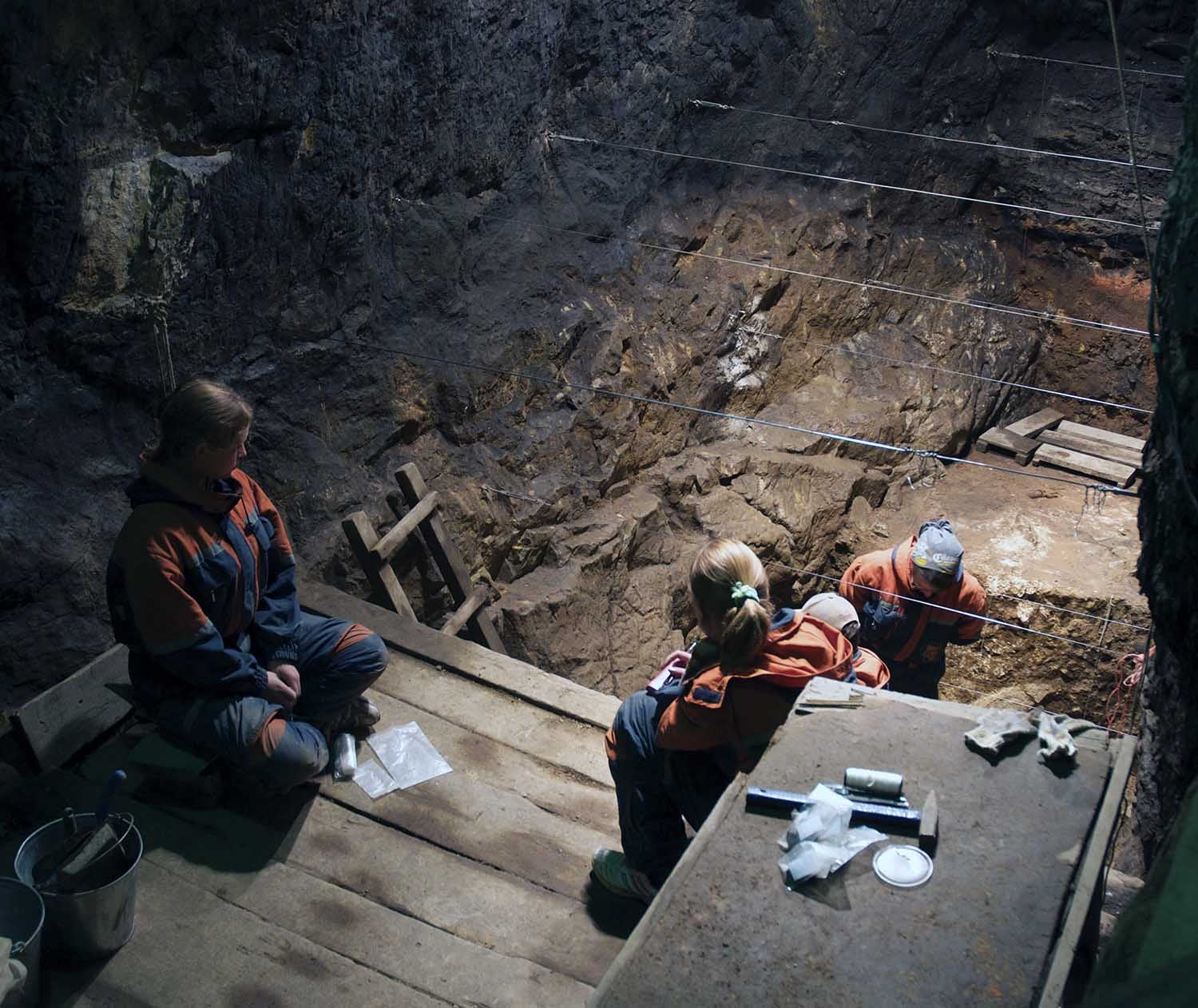 photo of Denisova Cave, excavation in the East Gallery