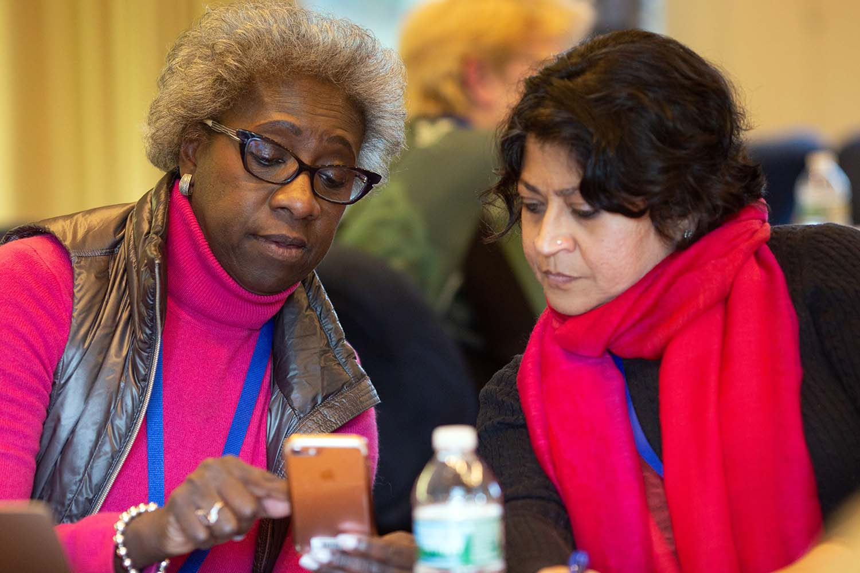 photo of Hannah Valantine and Nilanjana Dasgupta at Banbury Gender Diversity Meeting