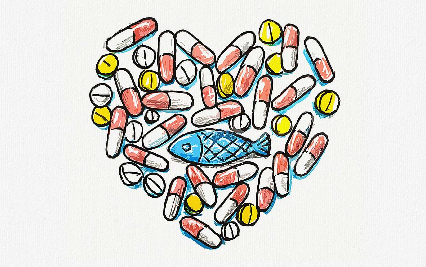 illustration of medicine heart fish