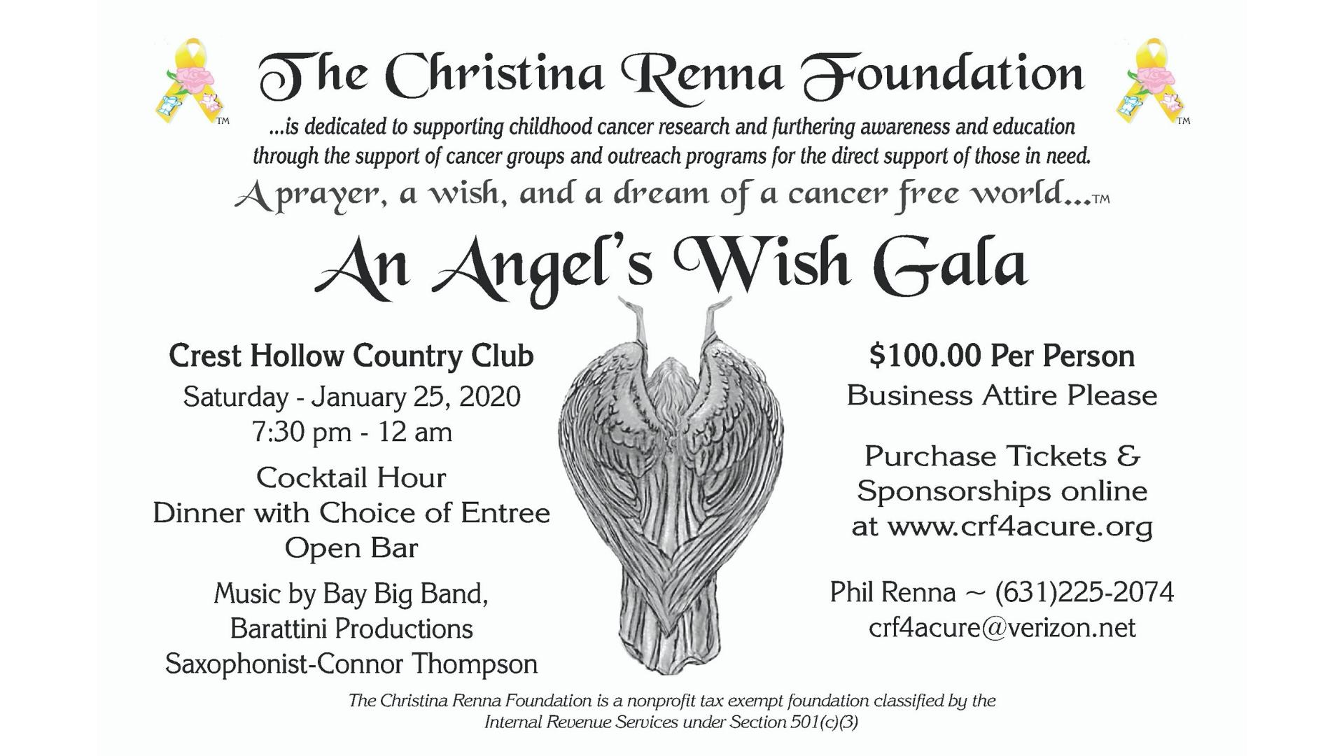 Angel's Wish Gala flyer with event details and an illustration of an angel.