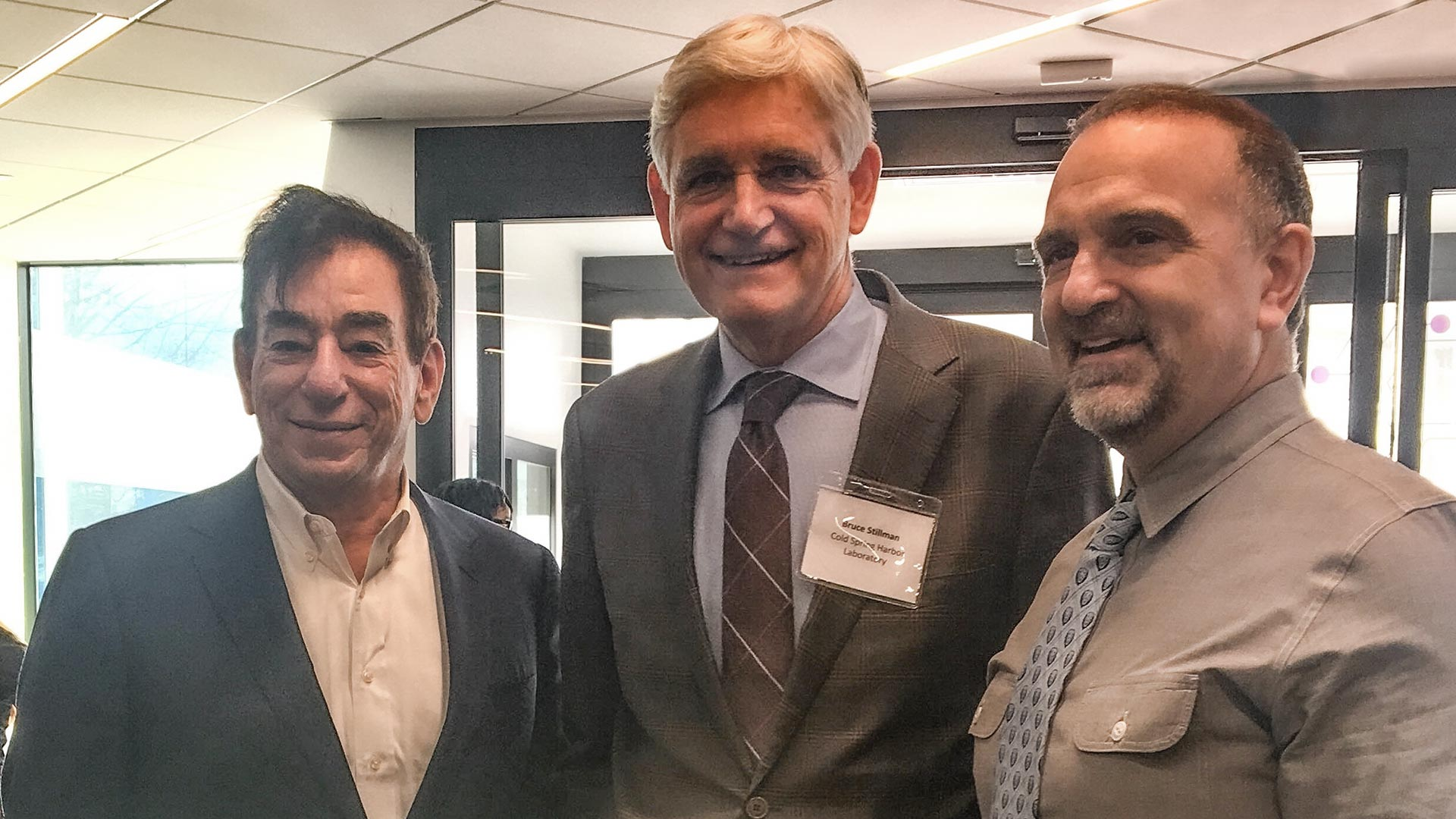 photo of Regeneron CEO Leonard Schleifer, CSHL President and CEO Bruce Stillman, and Regeneron Co-Founder, President and Chief Scientific Officer George D. Yancopoulos.