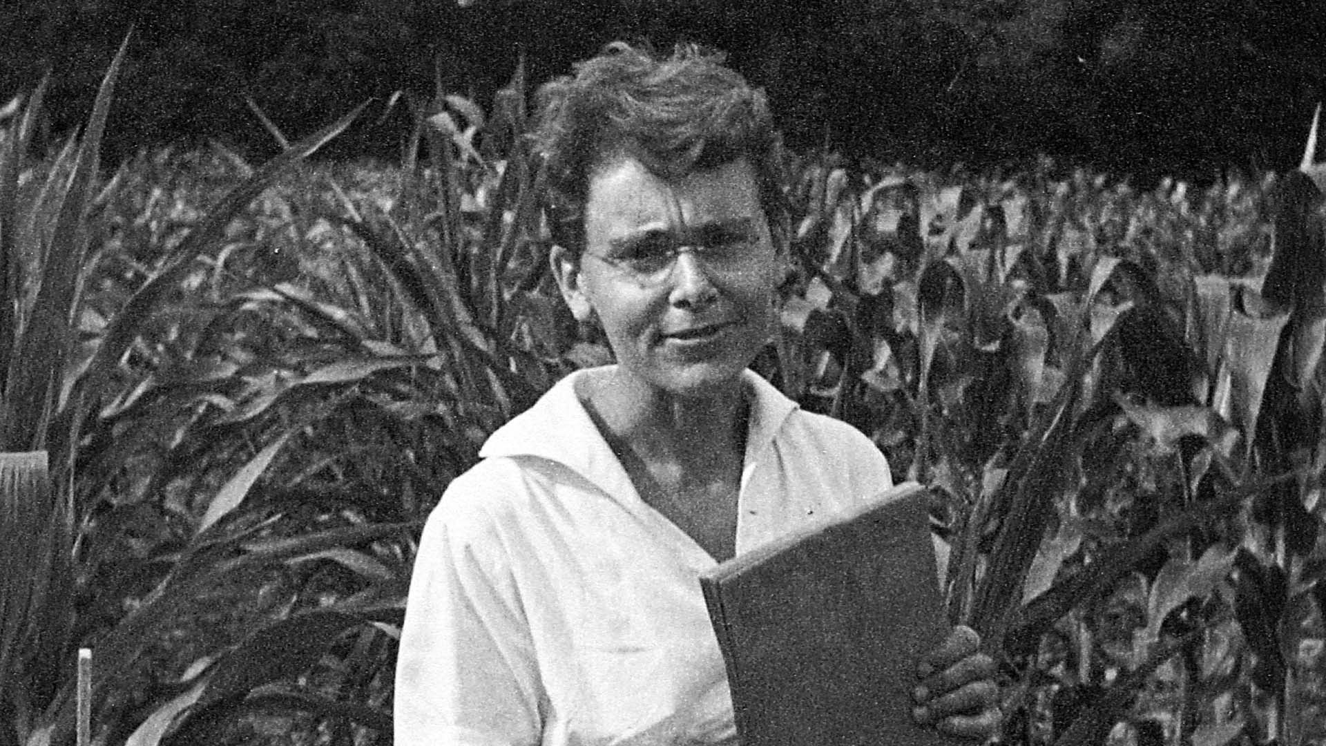 black and white photo of Barbara McClintock in cornfield