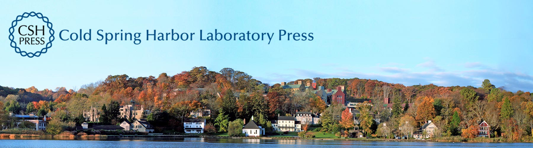 photo of CSHL campus with CSHL Press logo
