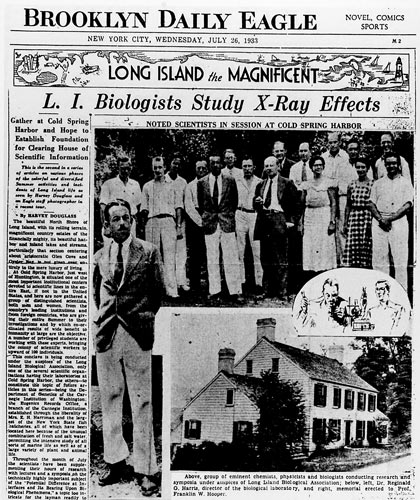 image of 1933 article in Brooklyn eagle article on first CSHL quantitative biology