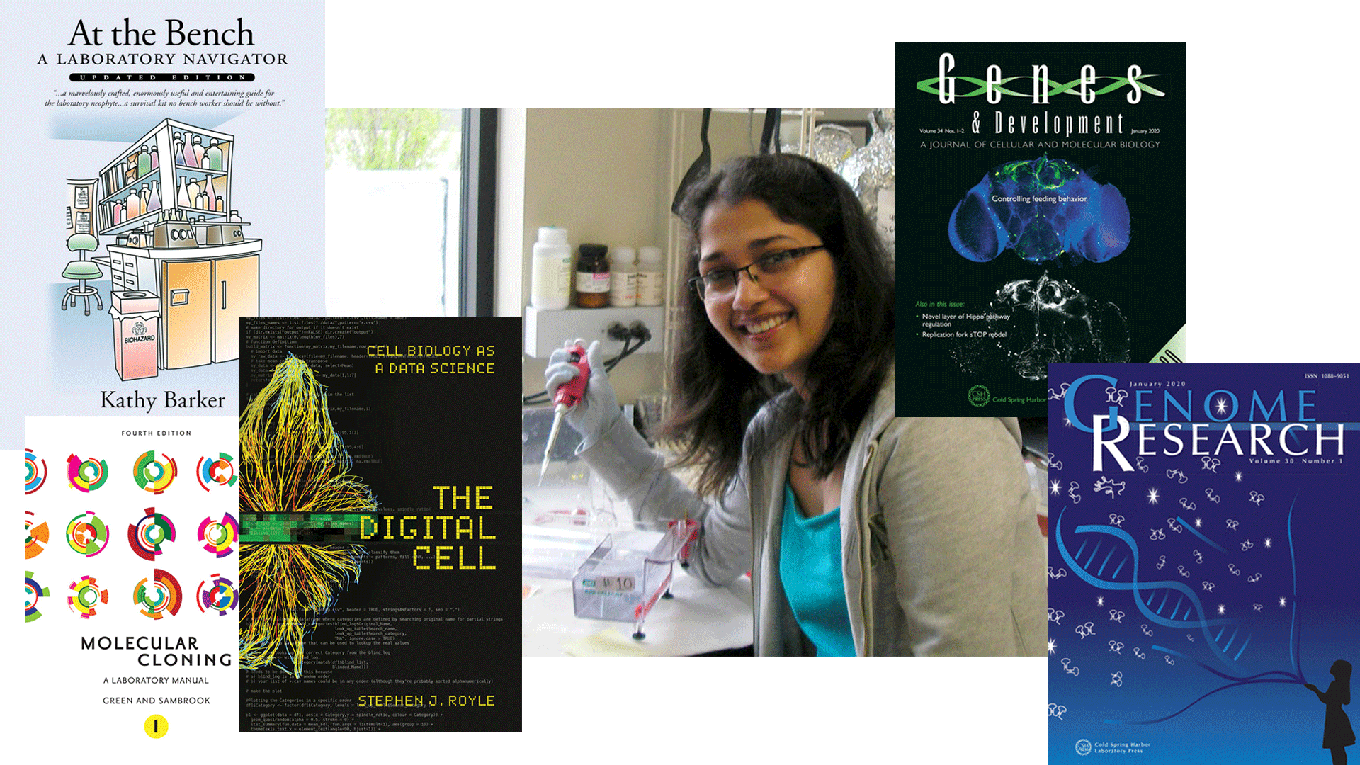 image of a student in a lab pipetting collaged with book covers from CSHL Press publications