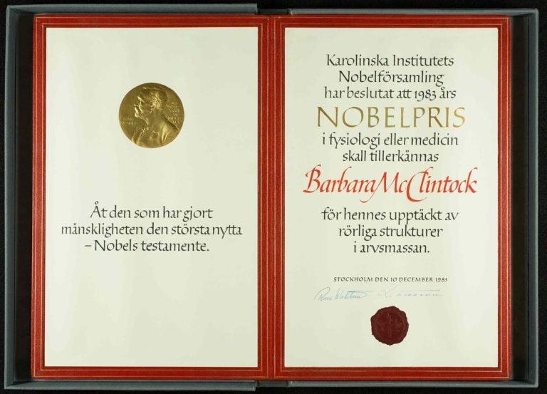 image of Barbara McClintock nobel prize folio