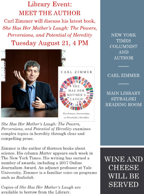 graphic of Carl Zimmer - Meet the author 2018 flyer