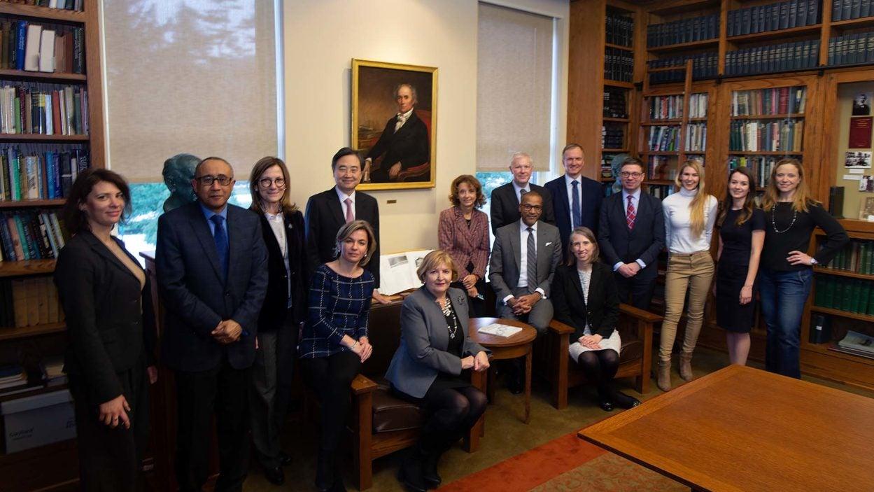 photo of UN delegates visiting CSHL campus