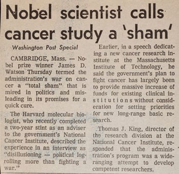 image of Watson calling cancer study a 'sham' news clipping