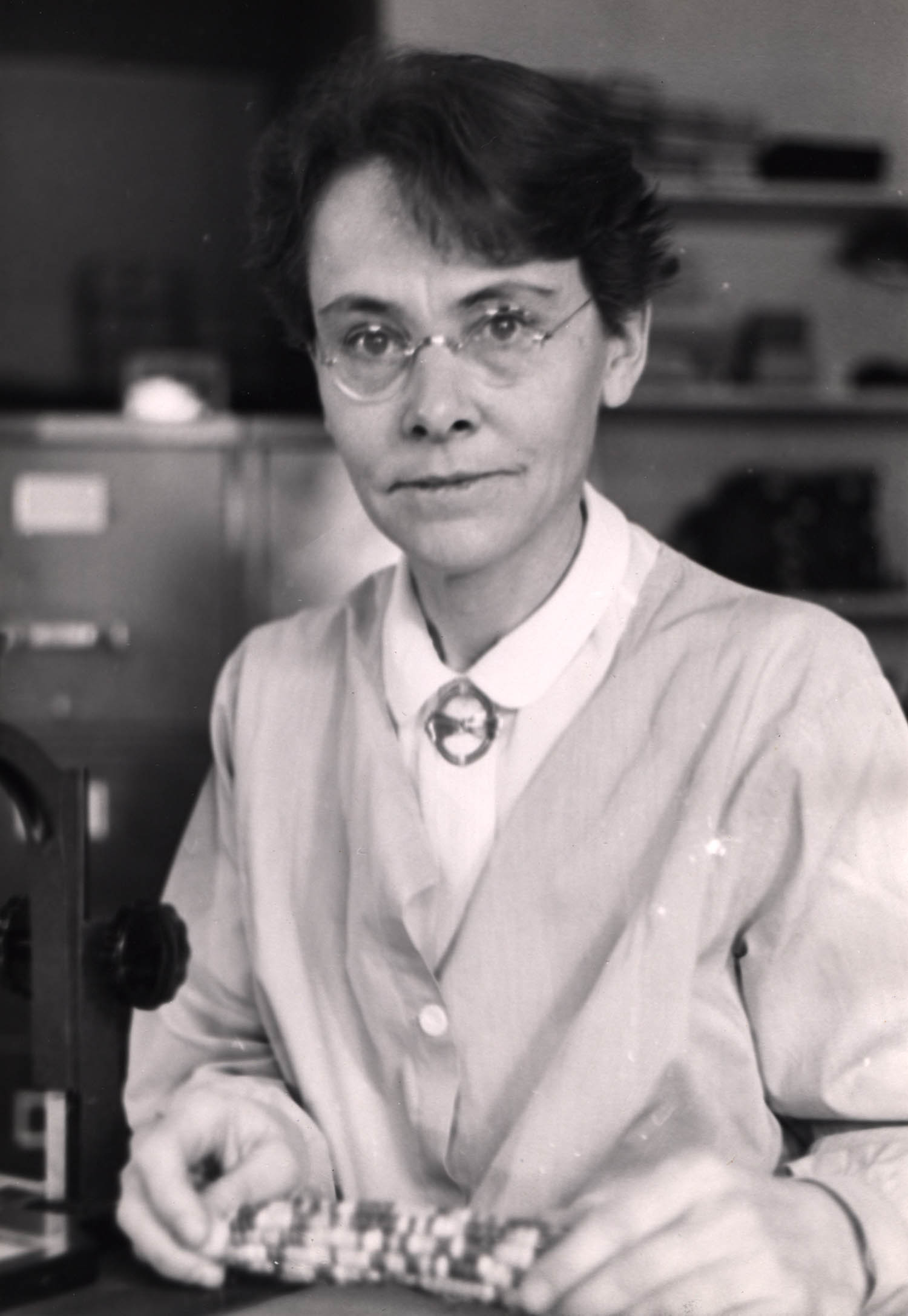 photo of Barbara McClintock with maize 1947