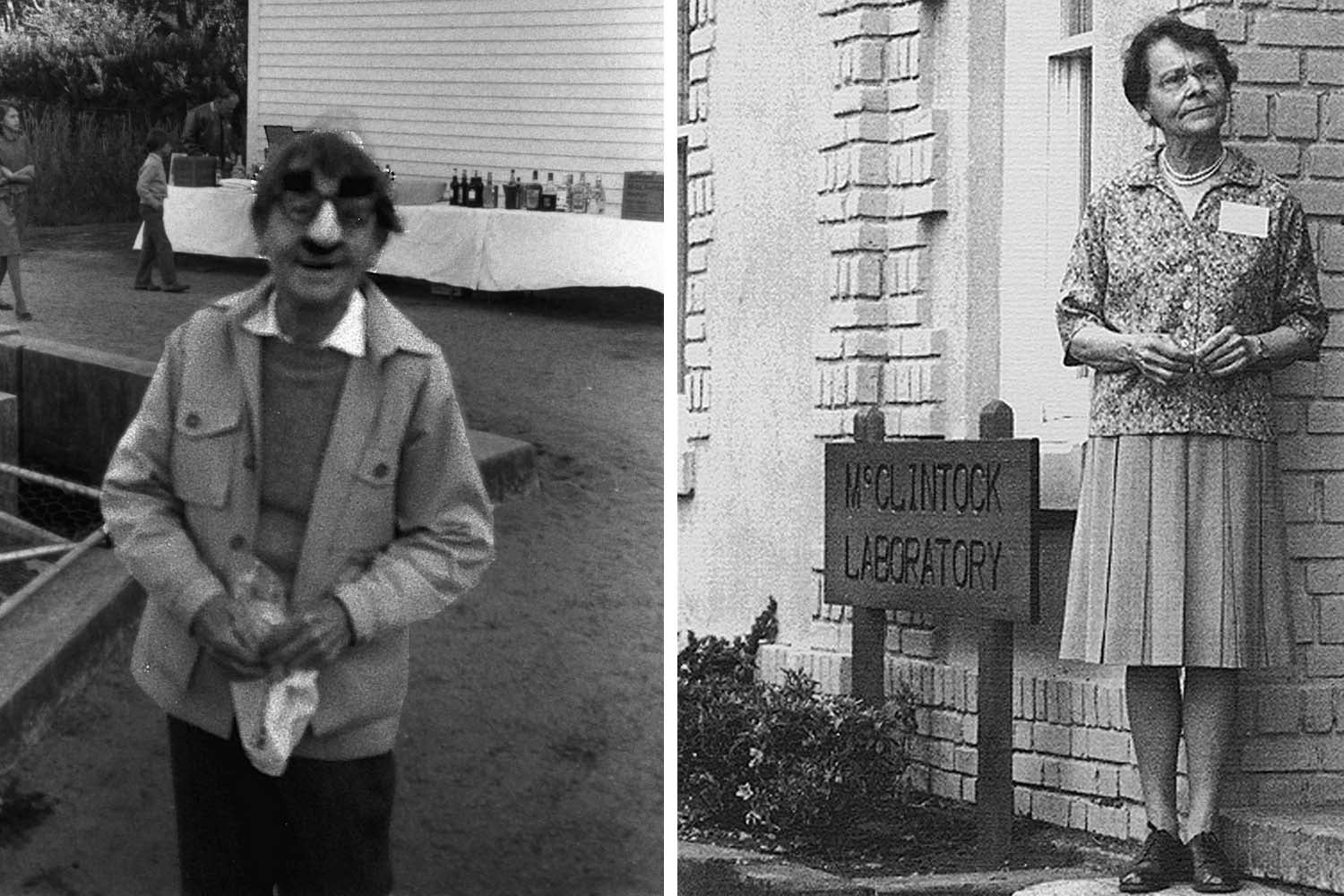 photos of Barbara McClintock as Groucho and standing in front of McClintock Laboratory