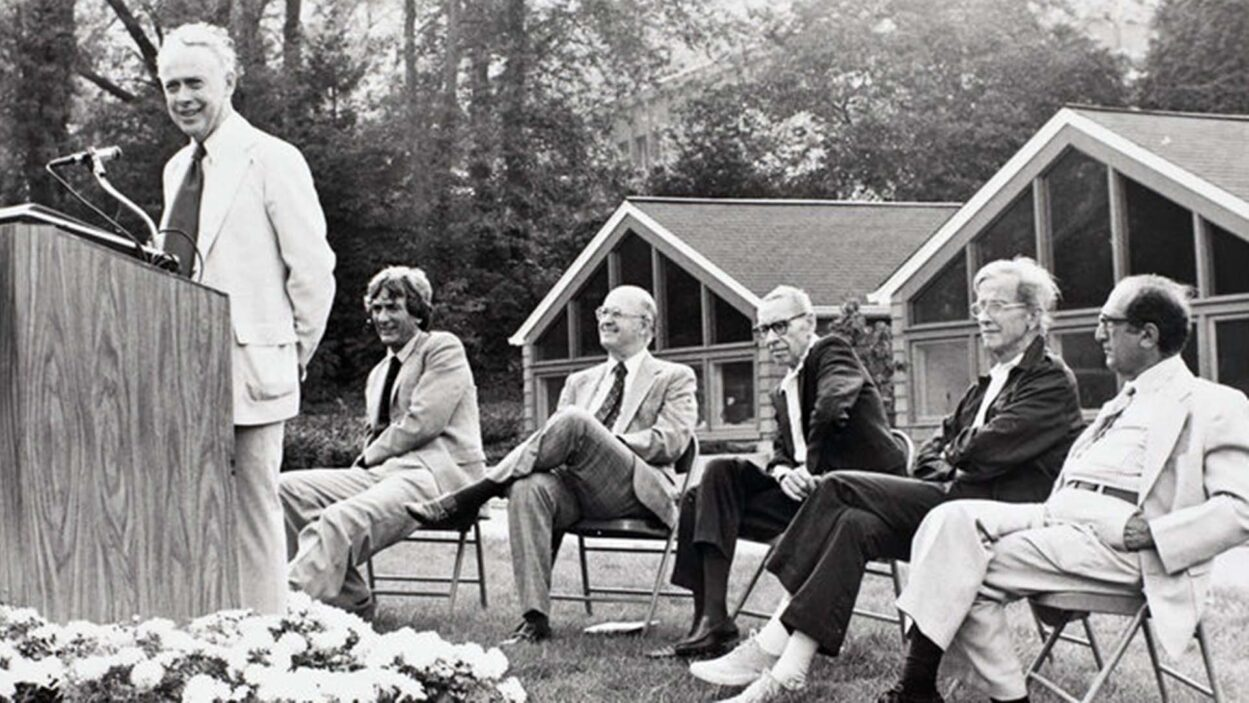 photo of Watson speaking at Hershey dedication 1979