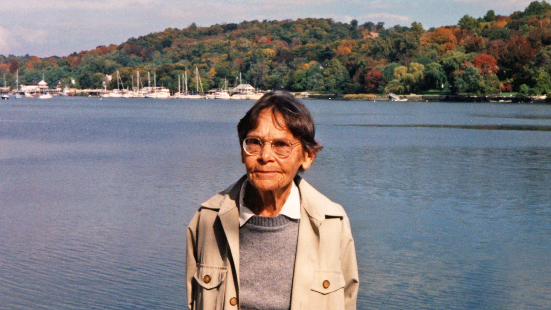 photo of Barbara McClintock on the water at CSHL