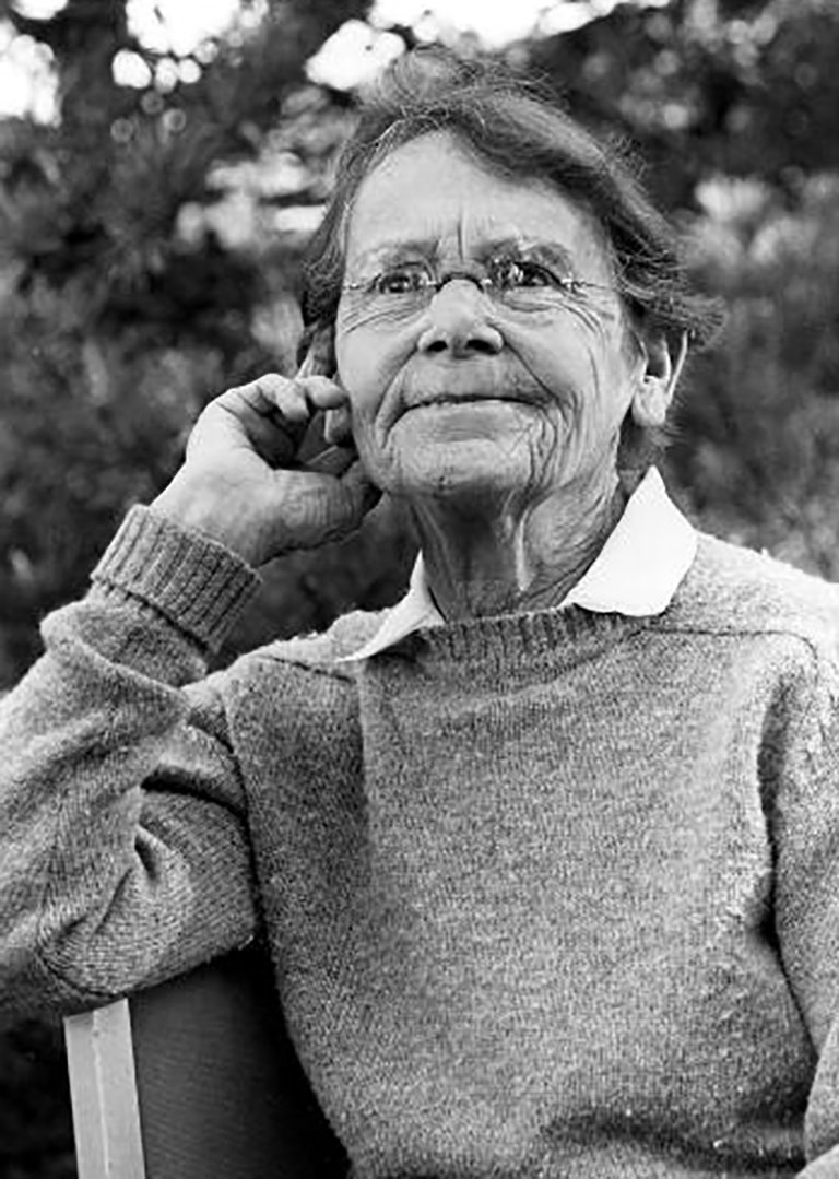 photo of Barbara McClintock thinking