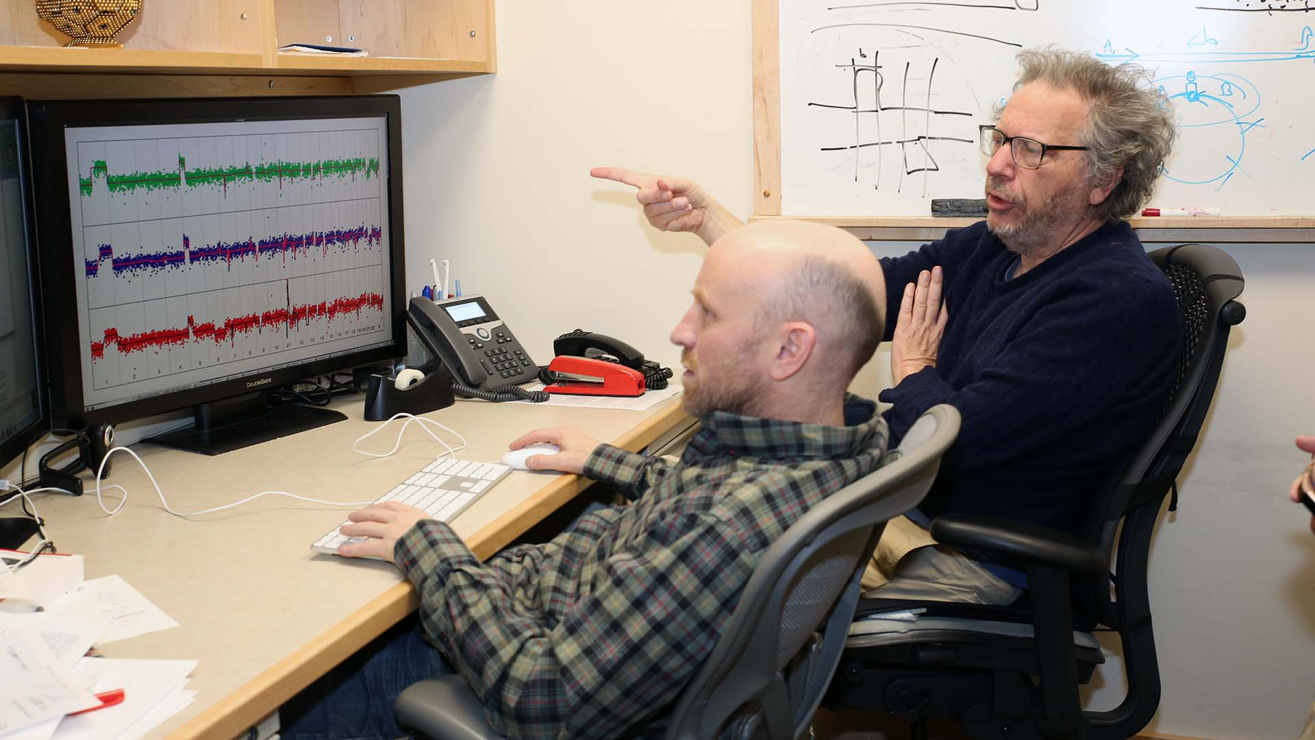 photo of Michael Wigler discussing research findings with Peter Andrews