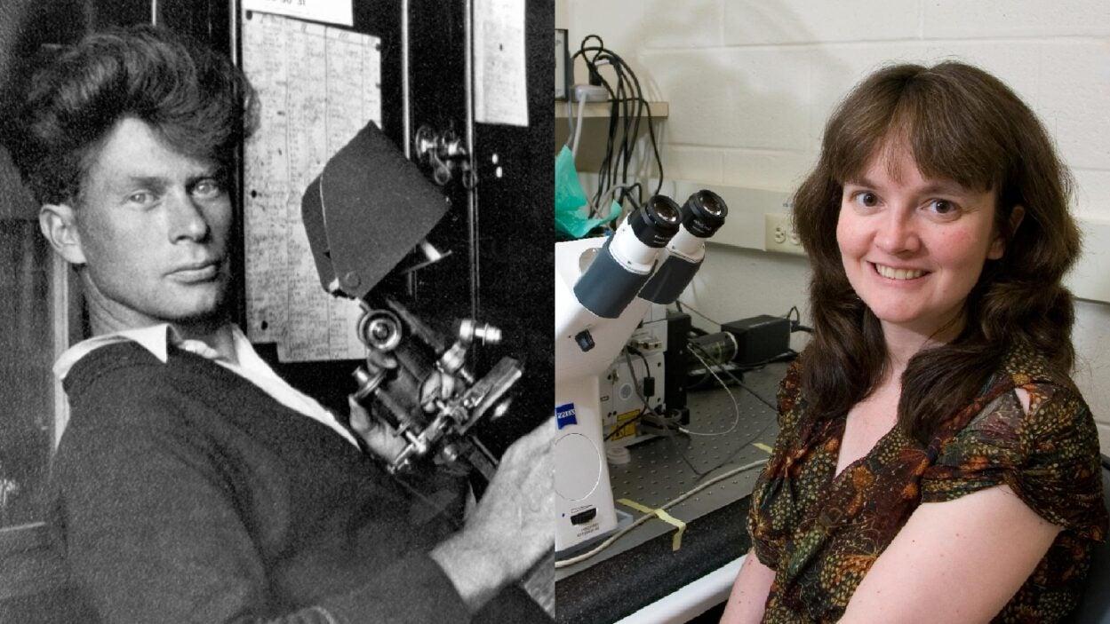 photo of Calvin Bridges from 1927 and Mikala Egeblad from 2010