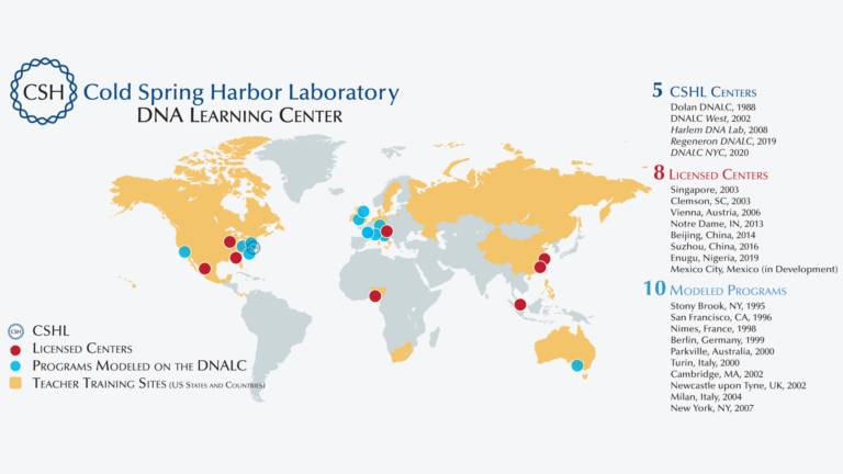 image of world map with DNA Learning Center locations indicated by dots