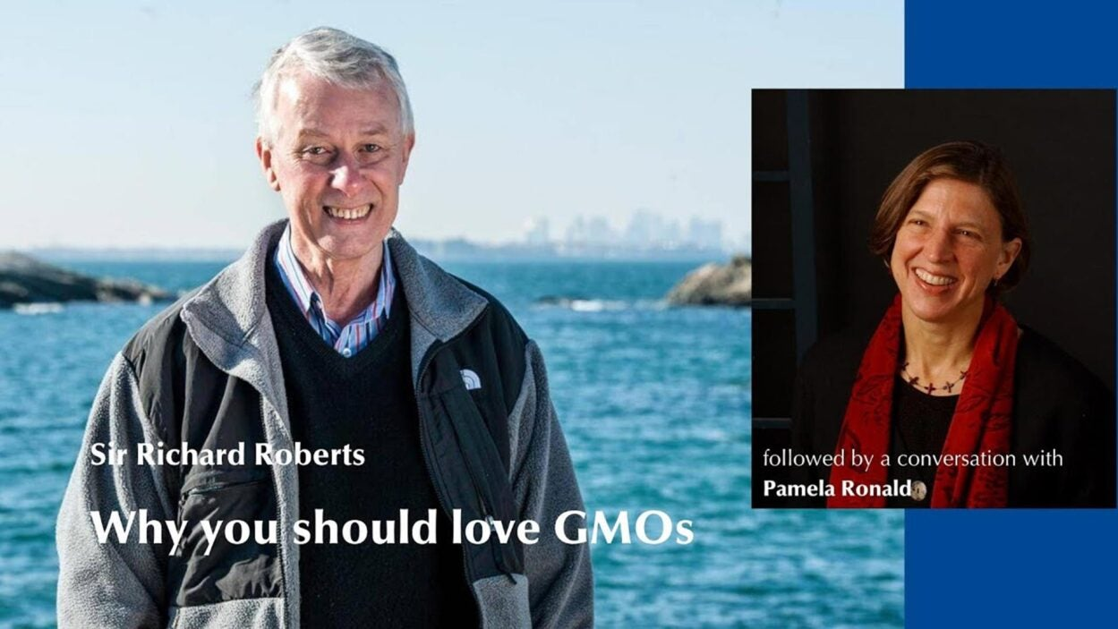 still image from GMOs lecture featuring Sir Richard Roberts and Pamela Ronald