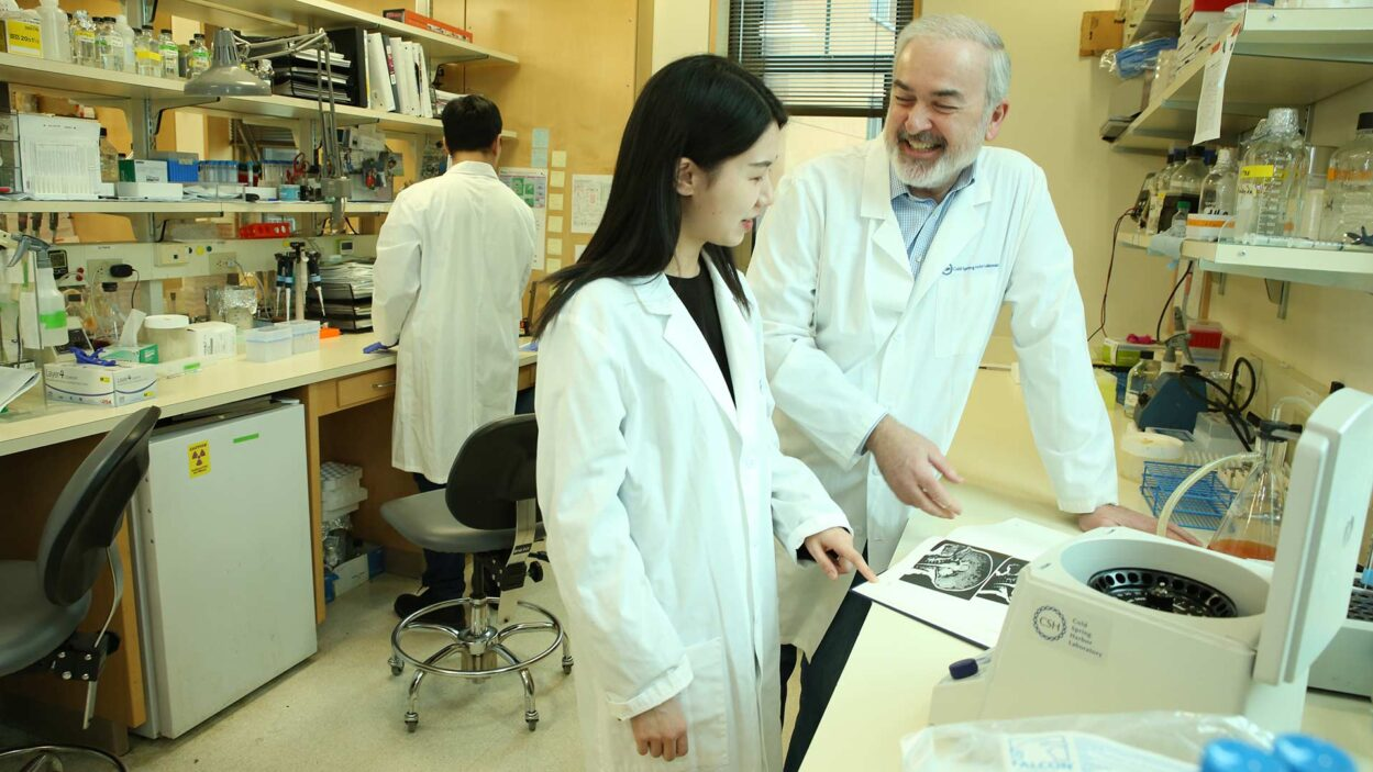 photo of Adrian Krainer in his lab with Qian Zhang