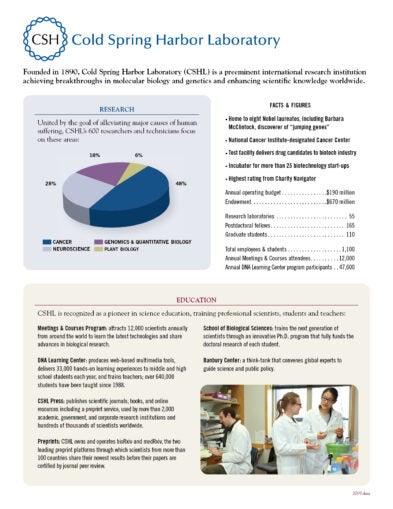 image of CSHL Fact sheet