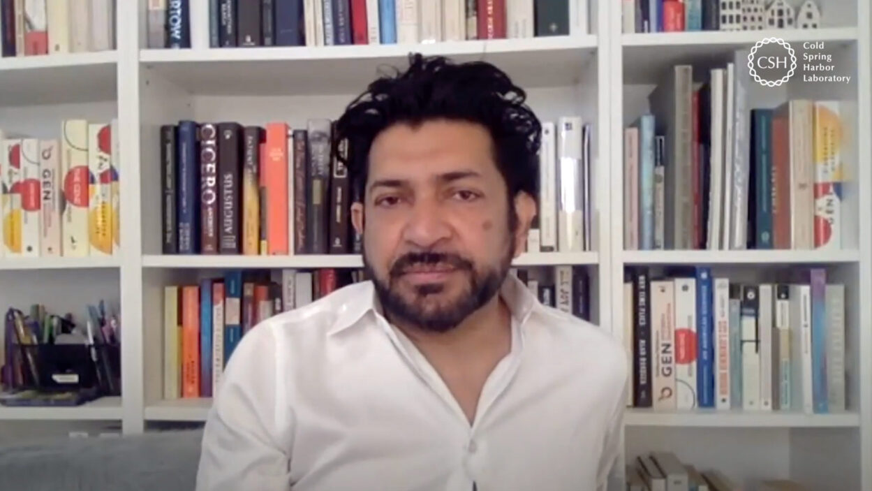 photo of Siddhartha Mukherjee virtually discussing his book The Gene