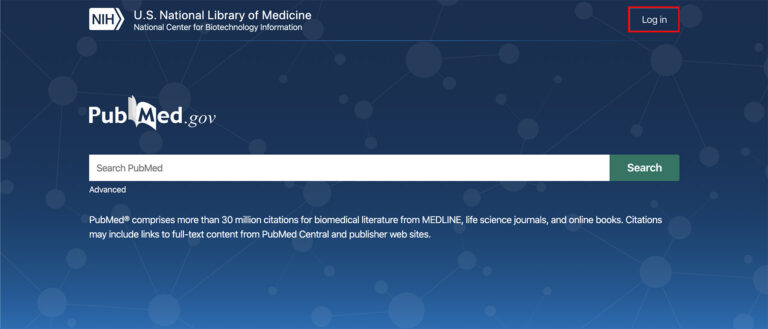 graphic of PubMed NCBI homepage screen