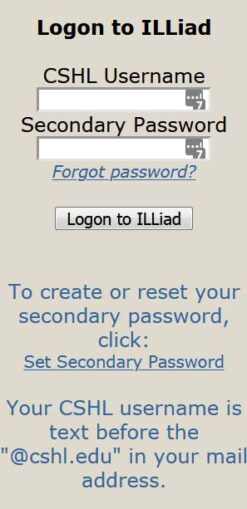 image of the ILLiad logon panel