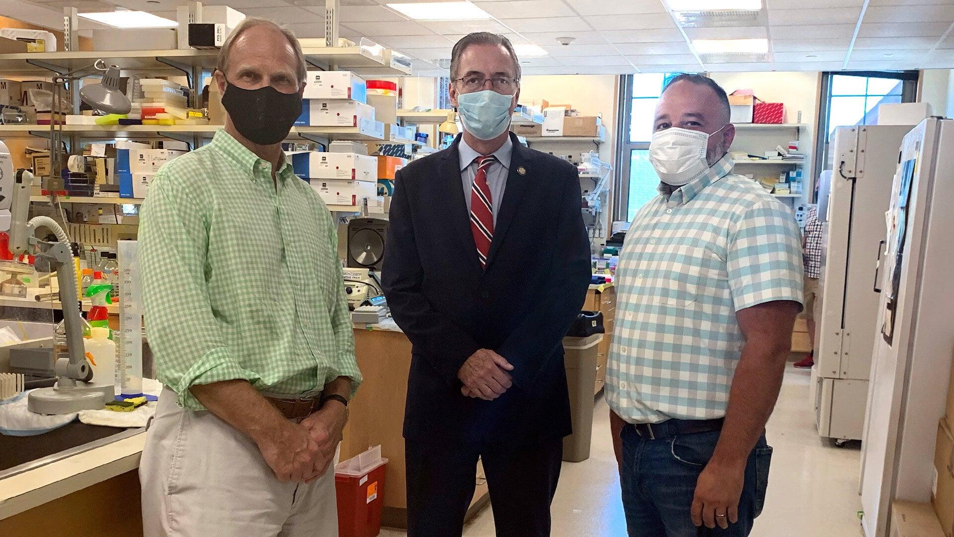 photo of John Tuke, NYS Senator James Gaughran, and Steve Monez
