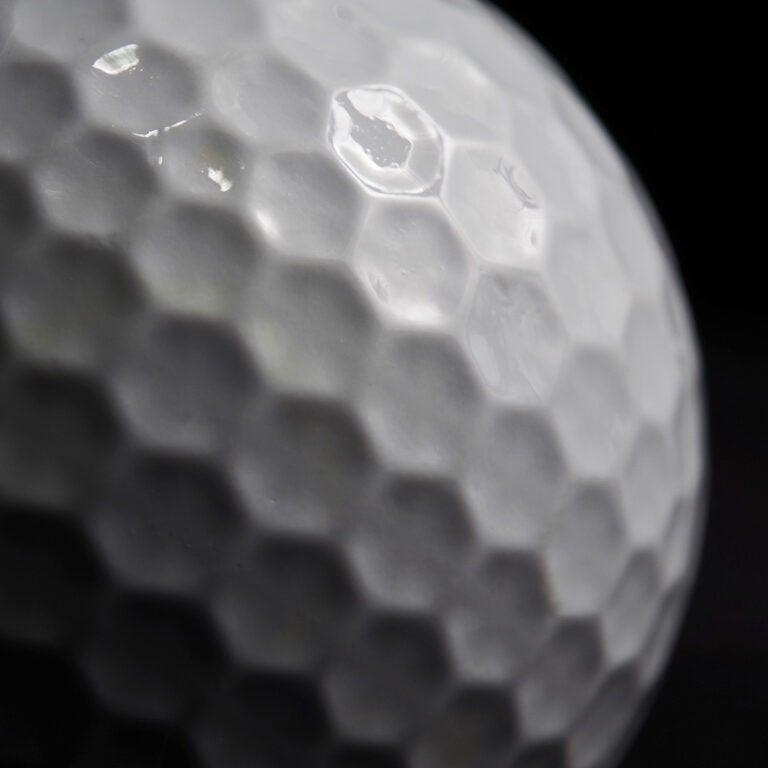photo of a golf ball closeup