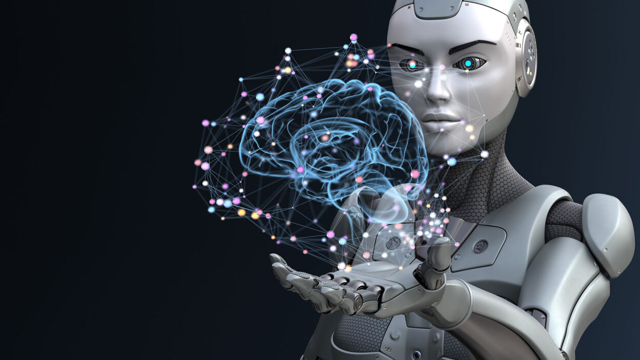 illustration of a robot holding a brain