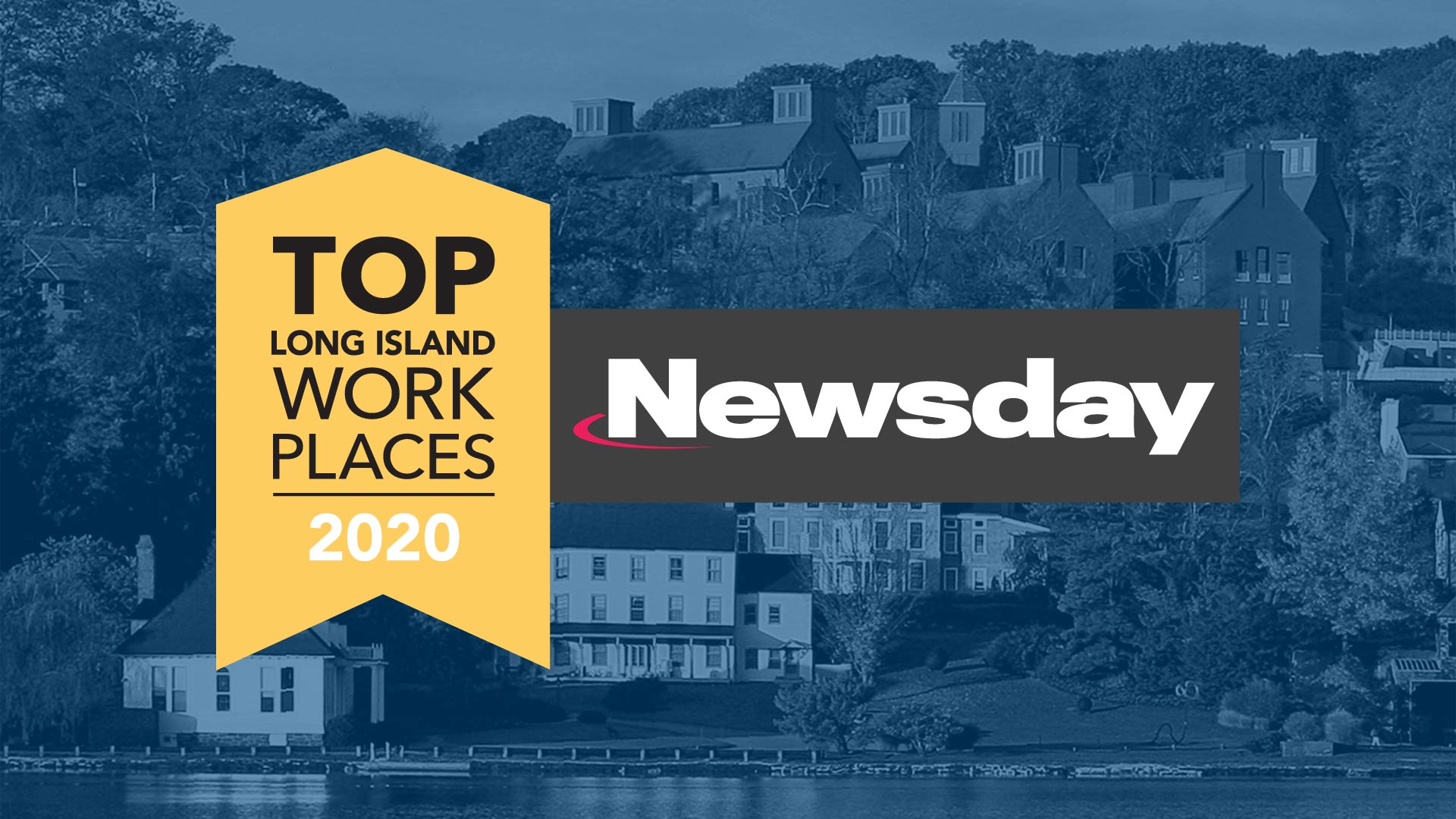 photo of CSHL campus with Newsday Top Workplaces 2020 logo