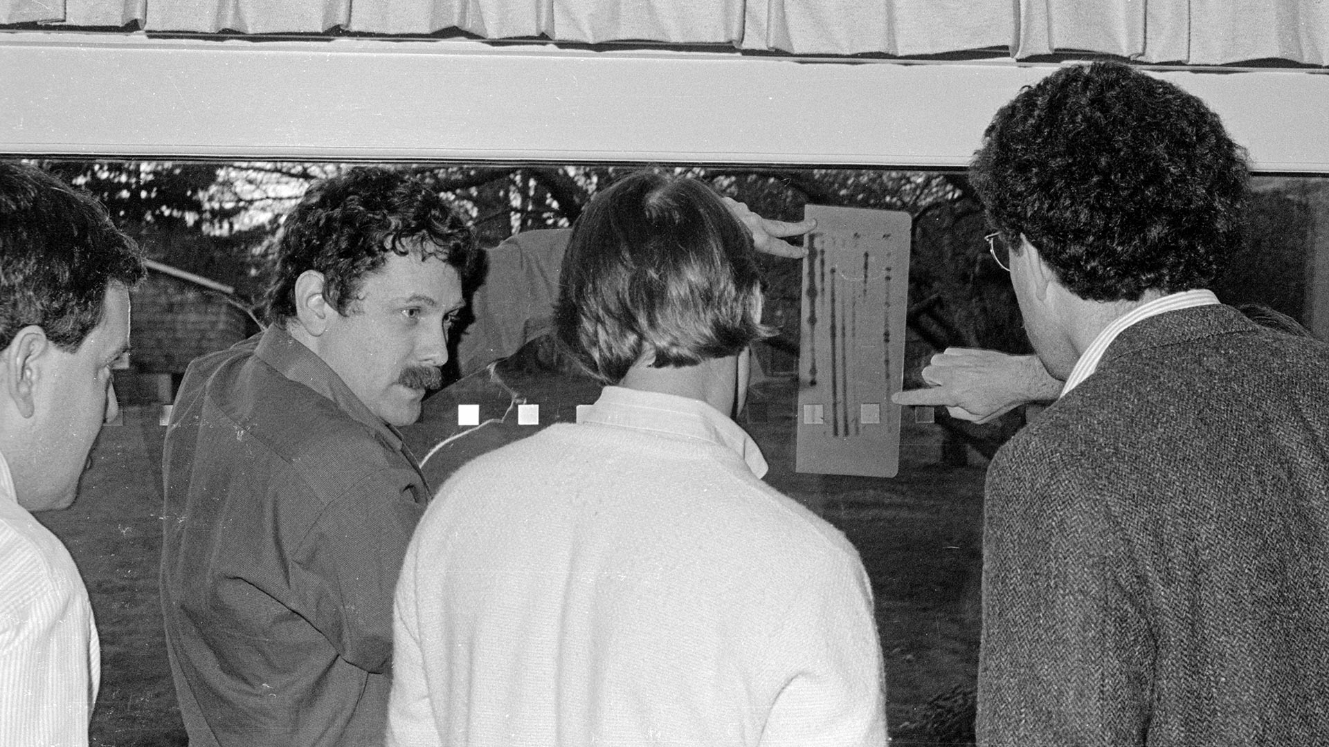 photo of Thomas Marr, Eric Lander, Rich Roberts, and Peter Neufeld at Banbury Center