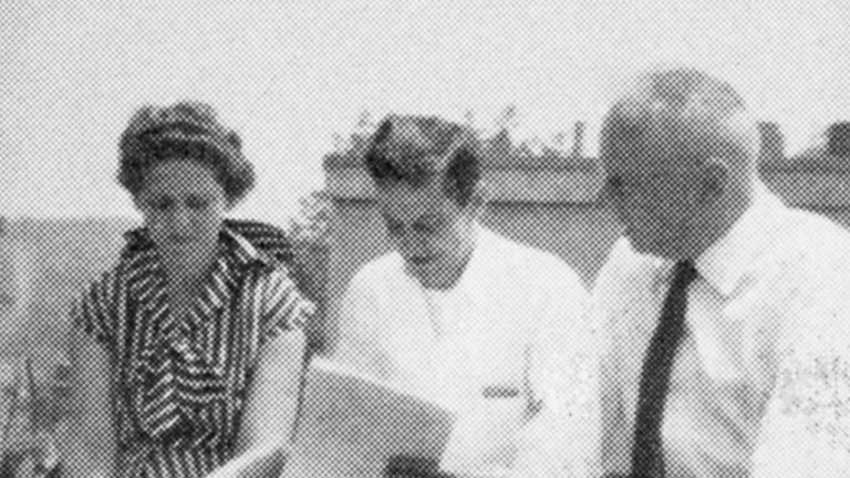 photo of Bruce Wallace with 2 unknown researchers
